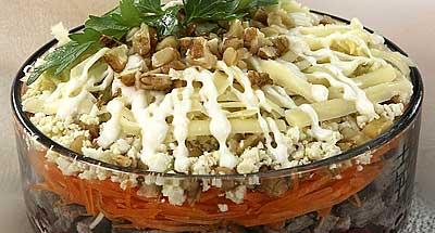 салат из яичных блинчиков: салат коктейль рецепт.
